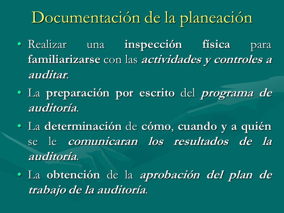 Documentación de la planeación Realizar una inspección física para familiarizarse con las actividades y controles a auditar.Realizar una inspección fí