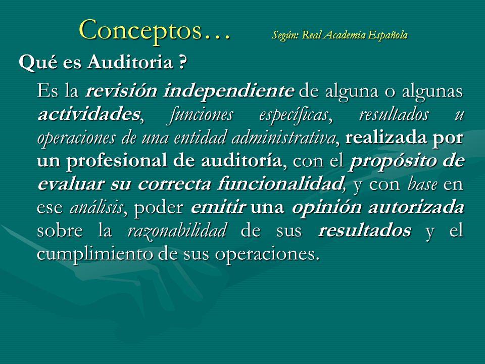 Conceptos… Según: Real Academia Española Qué es Auditoria ? Es la revisión independiente de alguna o algunas actividades, funciones específicas, resul
