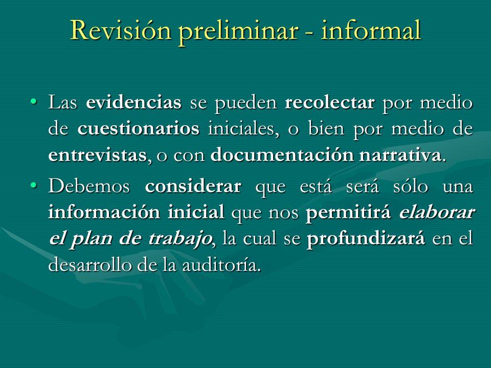 Revisión preliminar - informal Las evidencias se pueden recolectar por medio de cuestionarios iniciales, o bien por medio de entrevistas, o con docume
