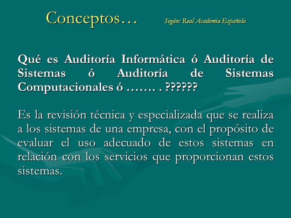 Qué es Auditoría Informática ó Auditoría de Sistemas ó Auditoría de Sistemas Computacionales ó …….. ?????? Es la revisión técnica y especializada que
