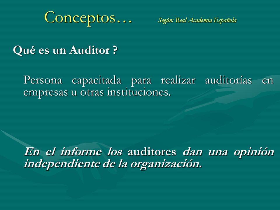 Qué es un Auditor ? Persona capacitada para realizar auditorías en empresas u otras instituciones. En el informe los auditores dan una opinión indepen
