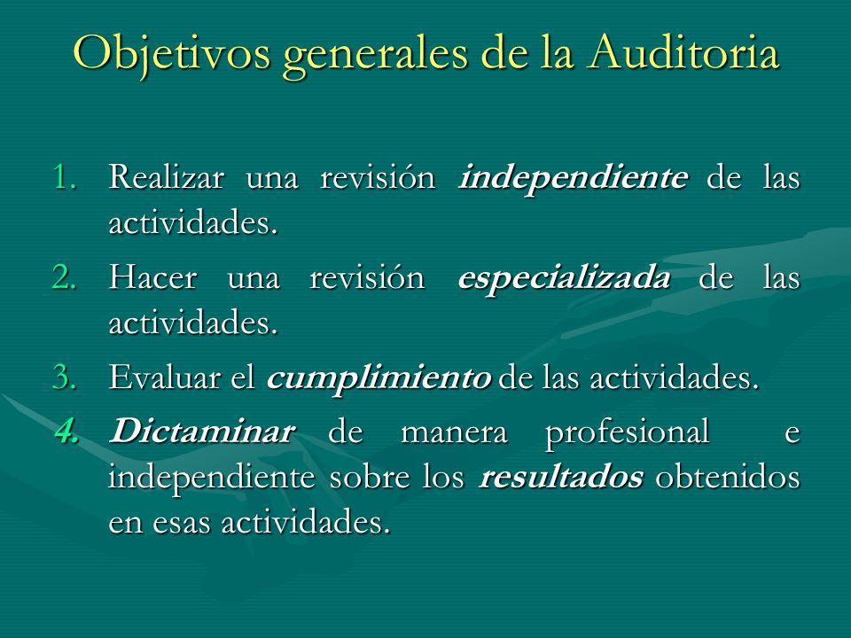 Objetivos generales de la Auditoria 1.Realizar una revisión independiente de las actividades. 2.Hacer una revisión especializada de las actividades. 3