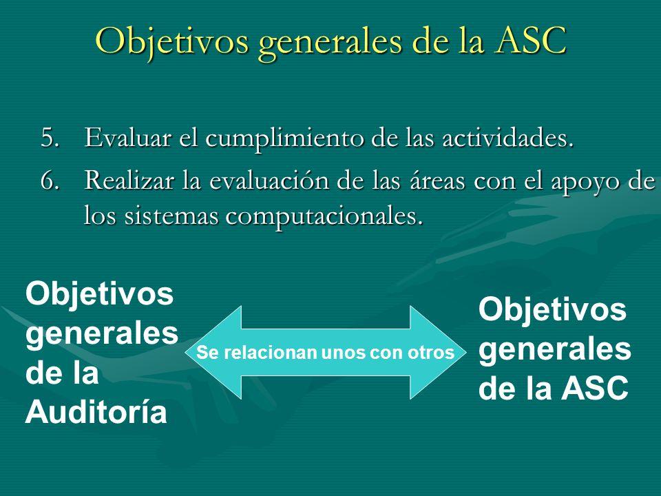 Objetivos generales de la ASC 5.Evaluar el cumplimiento de las actividades. 6.Realizar la evaluación de las áreas con el apoyo de los sistemas computa