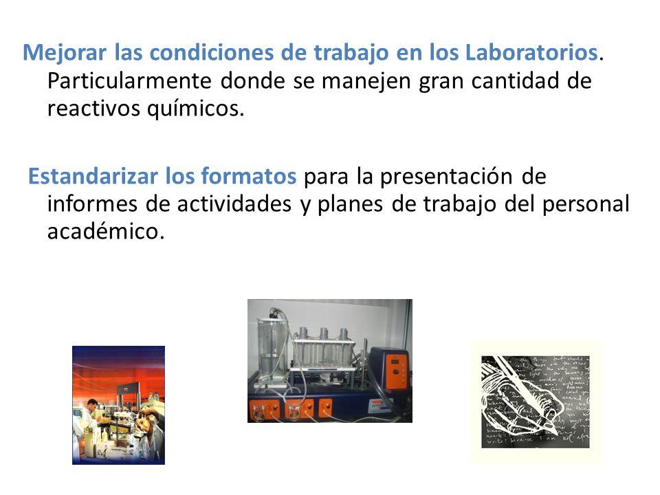 Aspectos de Infraestructura: Equipamiento del laboratorio de Operaciones Unitarias, ya que es la base del programa de Ingeniería Química.