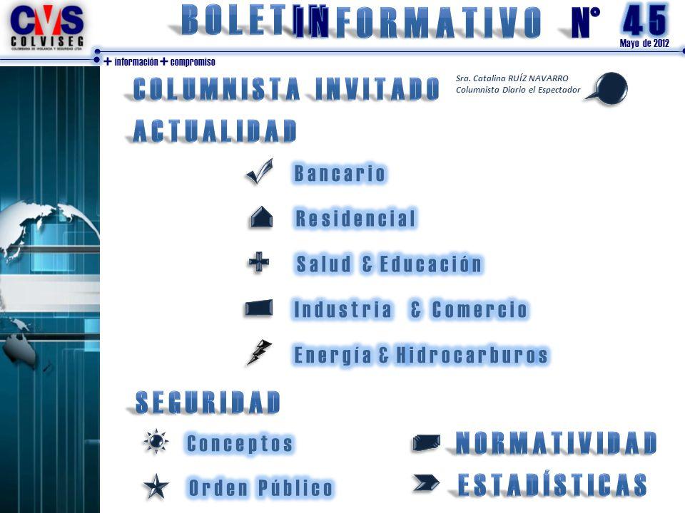 Mayo de 2012 + información + compromiso Sra. Catalina RUÍZ NAVARRO Columnista Diario el Espectador