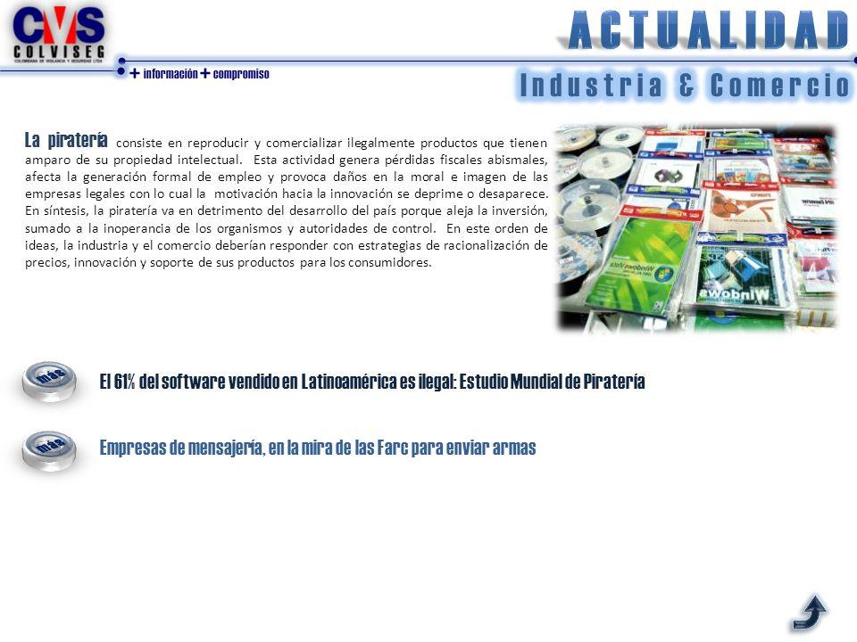 + información + compromiso El 61% del software vendido en Latinoamérica es ilegal: Estudio Mundial de Piratería La piratería consiste en reproducir y comercializar ilegalmente productos que tienen amparo de su propiedad intelectual.