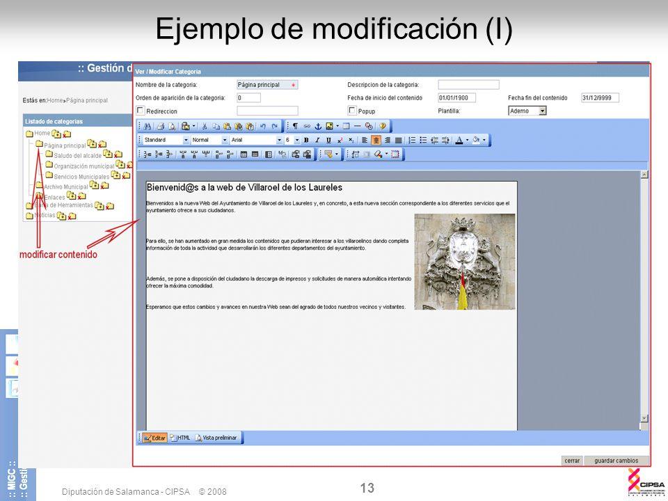 Diputación de Salamanca - CIPSA © 2008 13 Ejemplo de modificación (I)