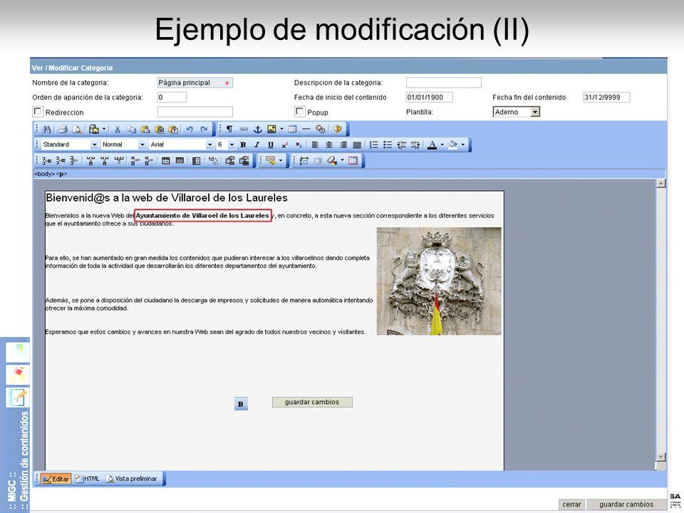 Diputación de Salamanca - CIPSA © 2008 14 Ejemplo de modificación (II)