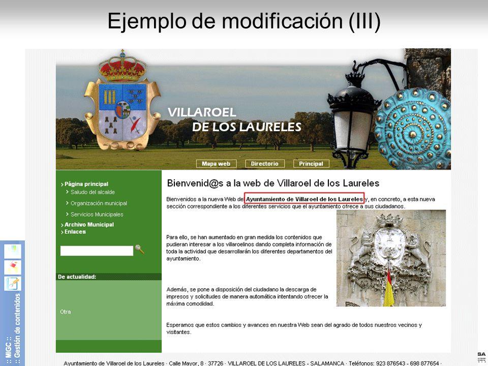 Diputación de Salamanca - CIPSA © 2008 15 Ejemplo de modificación (III)
