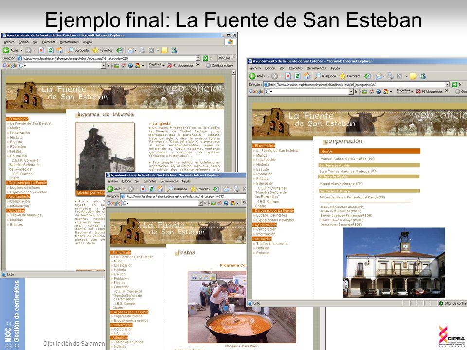 Diputación de Salamanca - CIPSA © 2008 16 Ejemplo final: La Fuente de San Esteban