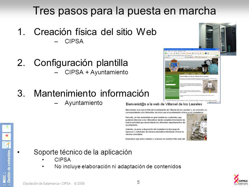 Diputación de Salamanca - CIPSA © 2008 5 Tres pasos para la puesta en marcha 1.Creación física del sitio Web –CIPSA 2.Configuración plantilla –CIPSA +