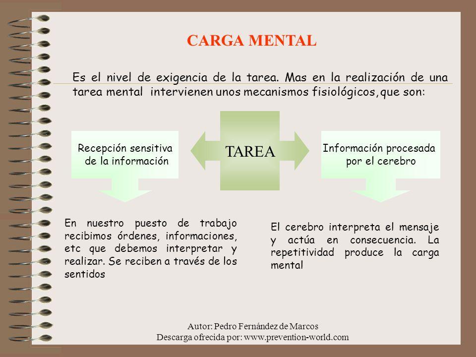 Autor: Pedro Fernández de Marcos Descarga ofrecida por: www.prevention-world.com CARGA MENTAL Es el nivel de exigencia de la tarea. Mas en la realizac