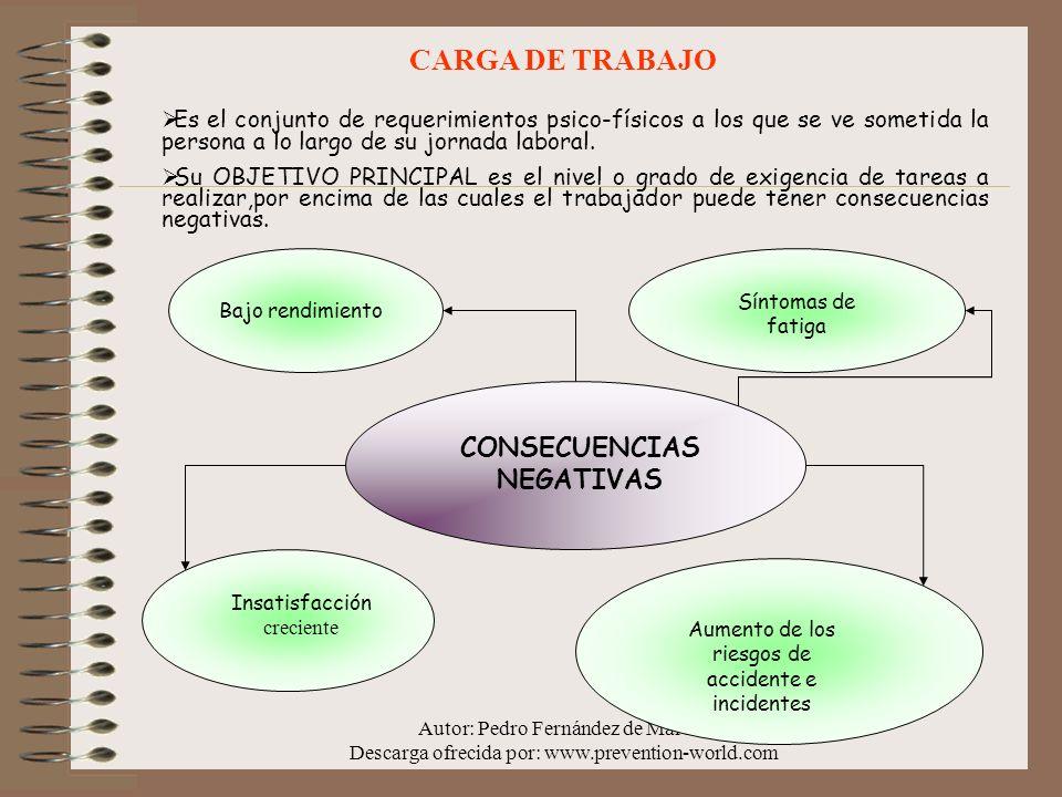 Autor: Pedro Fernández de Marcos Descarga ofrecida por: www.prevention-world.com Es el conjunto de requerimientos psico-físicos a los que se ve someti