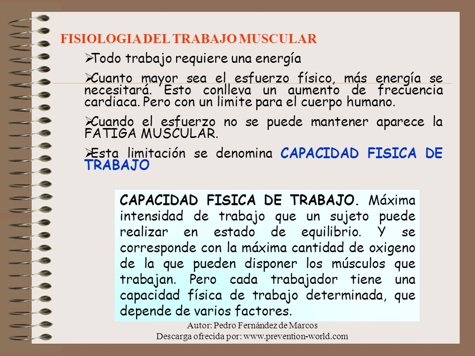 Autor: Pedro Fernández de Marcos Descarga ofrecida por: www.prevention-world.com FISIOLOGIA DEL TRABAJO MUSCULAR Todo trabajo requiere una energía Cua