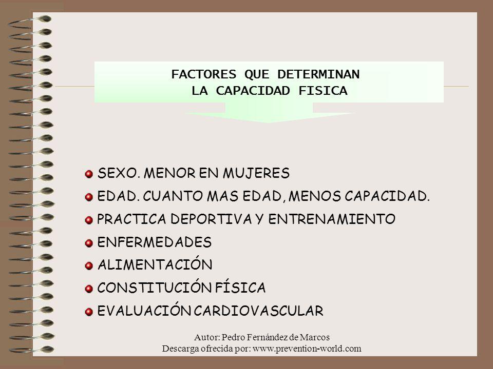 Autor: Pedro Fernández de Marcos Descarga ofrecida por: www.prevention-world.com LA FATIGA Es la disminución de la capacidad física del trabajador después de realizar un trabajo durante un tiempo determinado.