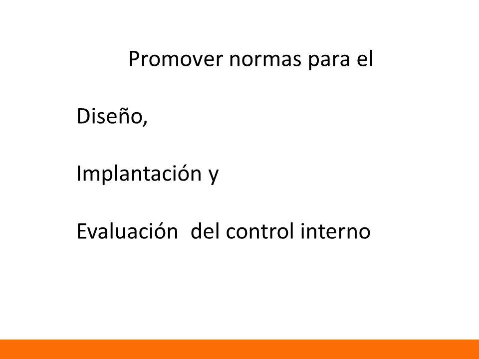 Promover normas para el Diseño, Implantación y Evaluación del control interno