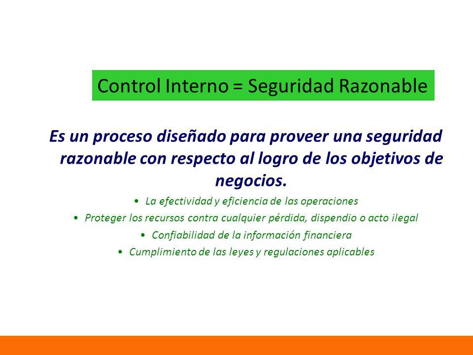 Control Interno = Seguridad Razonable Es un proceso diseñado para proveer una seguridad razonable con respecto al logro de los objetivos de negocios.