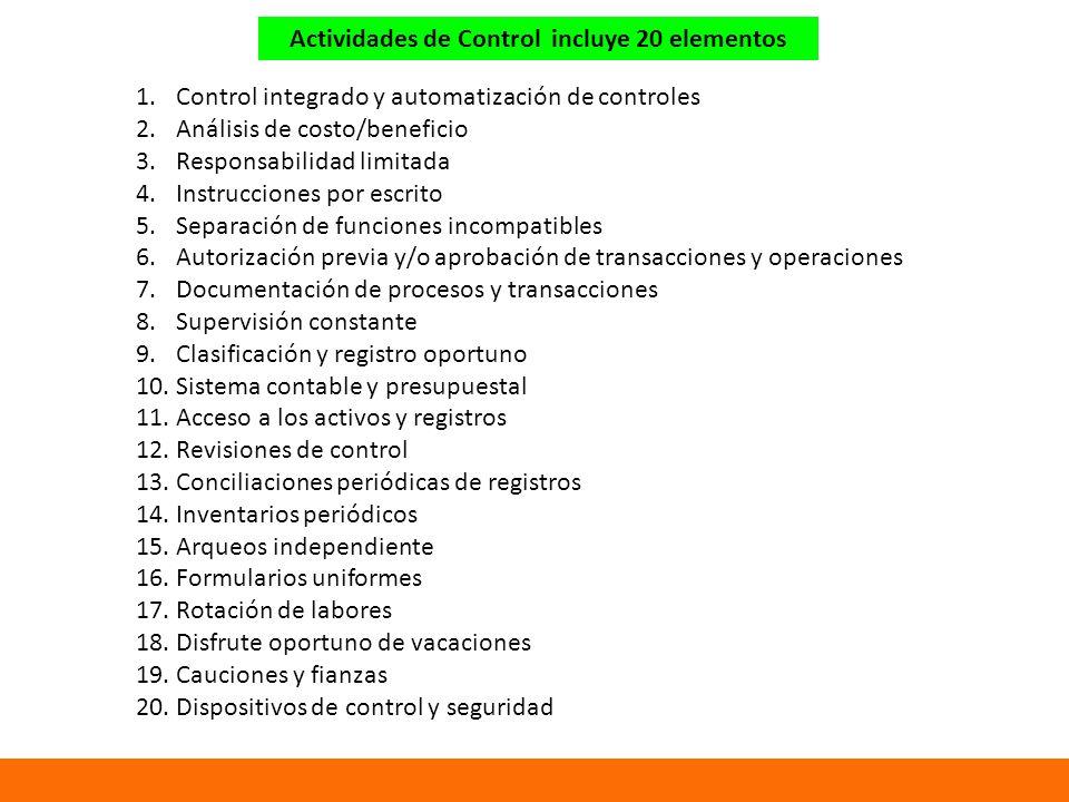 Actividades de Control incluye 20 elementos 1.Control integrado y automatización de controles 2.Análisis de costo/beneficio 3.Responsabilidad limitada 4.Instrucciones por escrito 5.Separación de funciones incompatibles 6.Autorización previa y/o aprobación de transacciones y operaciones 7.Documentación de procesos y transacciones 8.Supervisión constante 9.Clasificación y registro oportuno 10.Sistema contable y presupuestal 11.Acceso a los activos y registros 12.Revisiones de control 13.Conciliaciones periódicas de registros 14.Inventarios periódicos 15.Arqueos independiente 16.Formularios uniformes 17.Rotación de labores 18.Disfrute oportuno de vacaciones 19.Cauciones y fianzas 20.Dispositivos de control y seguridad