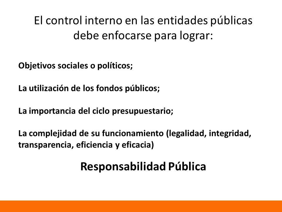 El control interno en las entidades públicas debe enfocarse para lograr: Objetivos sociales o políticos; La utilización de los fondos públicos; La importancia del ciclo presupuestario; La complejidad de su funcionamiento (legalidad, integridad, transparencia, eficiencia y eficacia) Responsabilidad Pública