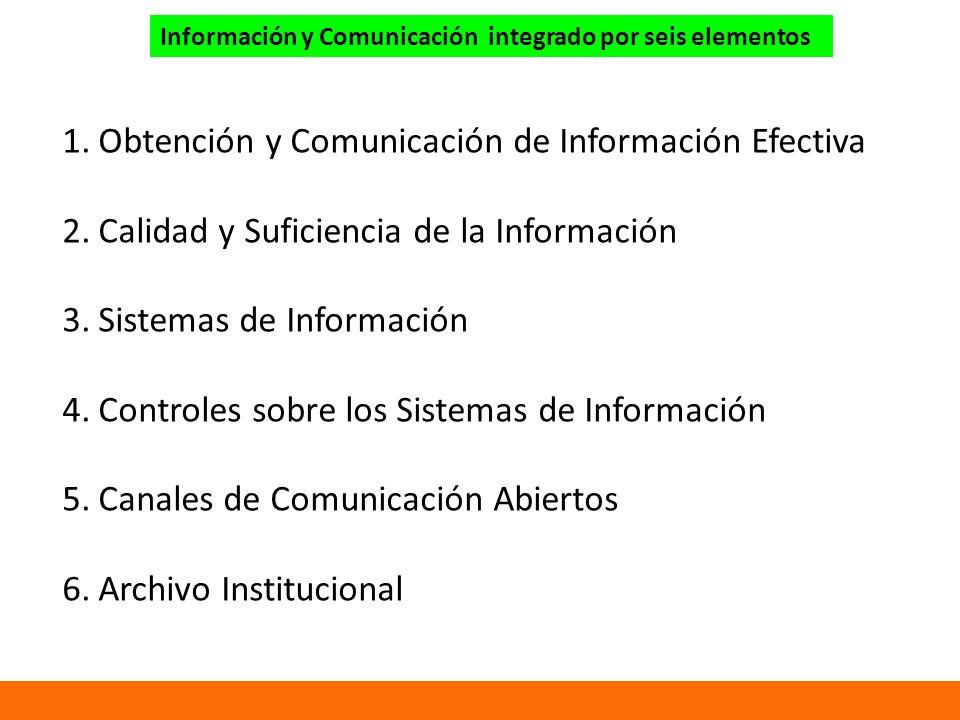 Información y Comunicación integrado por seis elementos 1.Obtención y Comunicación de Información Efectiva 2.Calidad y Suficiencia de la Información 3.Sistemas de Información 4.Controles sobre los Sistemas de Información 5.Canales de Comunicación Abiertos 6.Archivo Institucional
