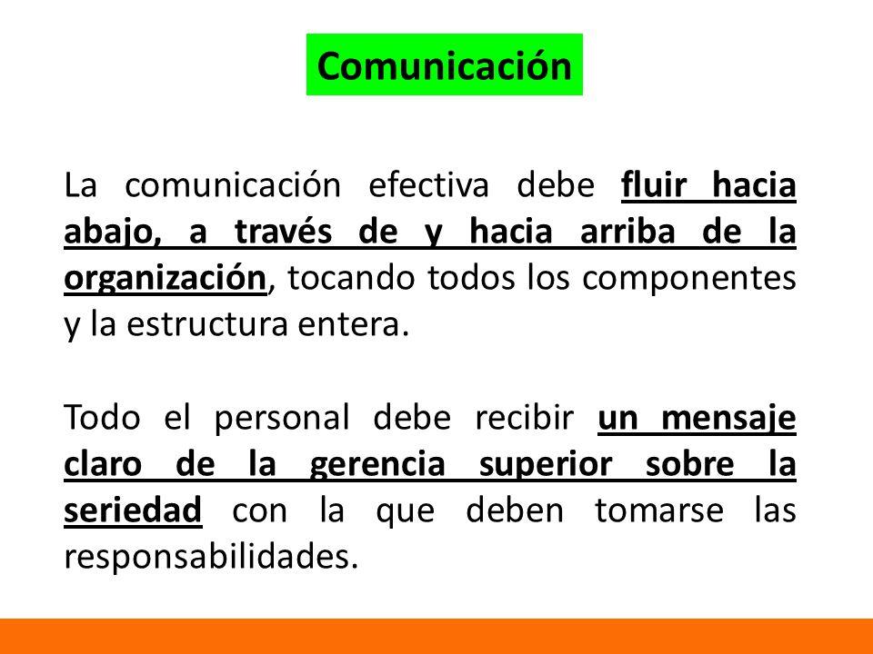 La comunicación efectiva debe fluir hacia abajo, a través de y hacia arriba de la organización, tocando todos los componentes y la estructura entera.