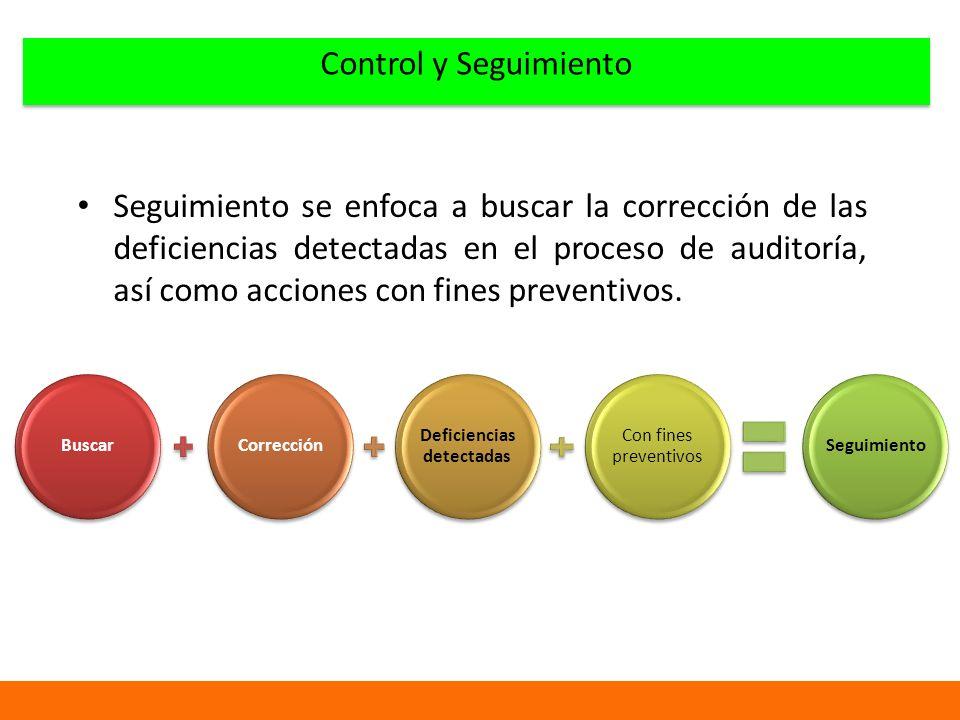 Control y Seguimiento Seguimiento se enfoca a buscar la corrección de las deficiencias detectadas en el proceso de auditoría, así como acciones con fines preventivos.