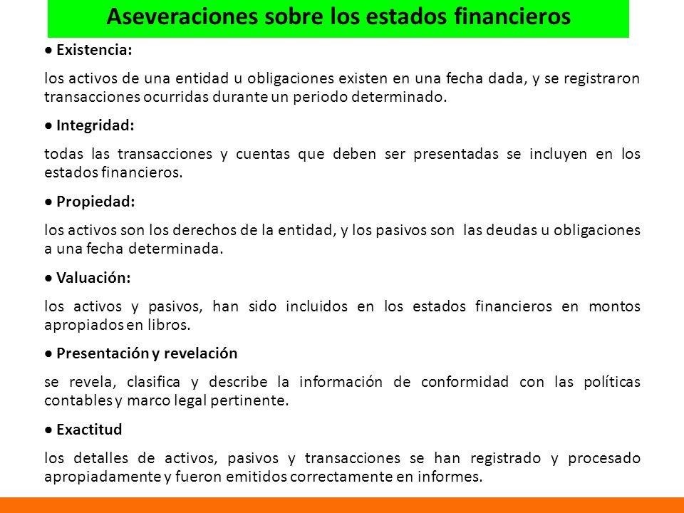 Existencia: los activos de una entidad u obligaciones existen en una fecha dada, y se registraron transacciones ocurridas durante un periodo determinado.