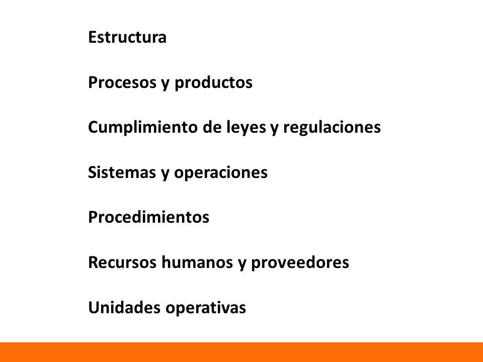 Estructura Procesos y productos Cumplimiento de leyes y regulaciones Sistemas y operaciones Procedimientos Recursos humanos y proveedores Unidades operativas