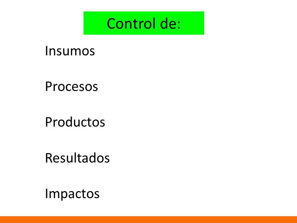 Control de: Insumos Procesos Productos Resultados Impactos
