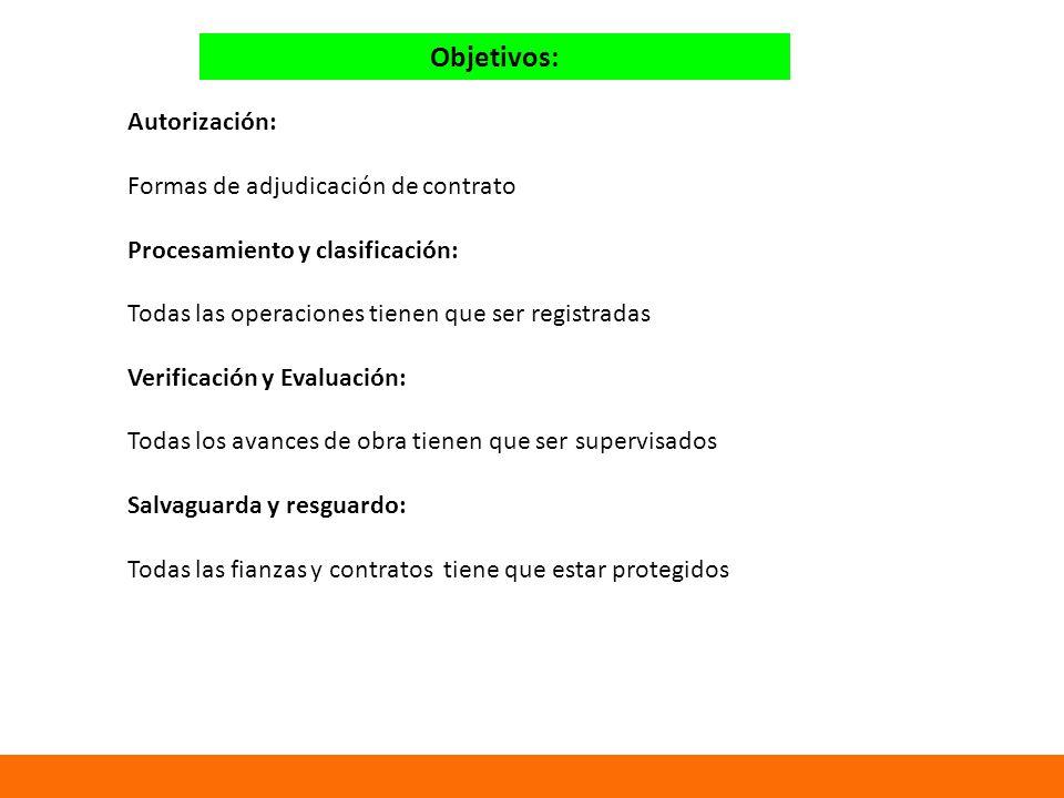 Objetivos: Autorización: Formas de adjudicación de contrato Procesamiento y clasificación: Todas las operaciones tienen que ser registradas Verificación y Evaluación: Todas los avances de obra tienen que ser supervisados Salvaguarda y resguardo: Todas las fianzas y contratos tiene que estar protegidos