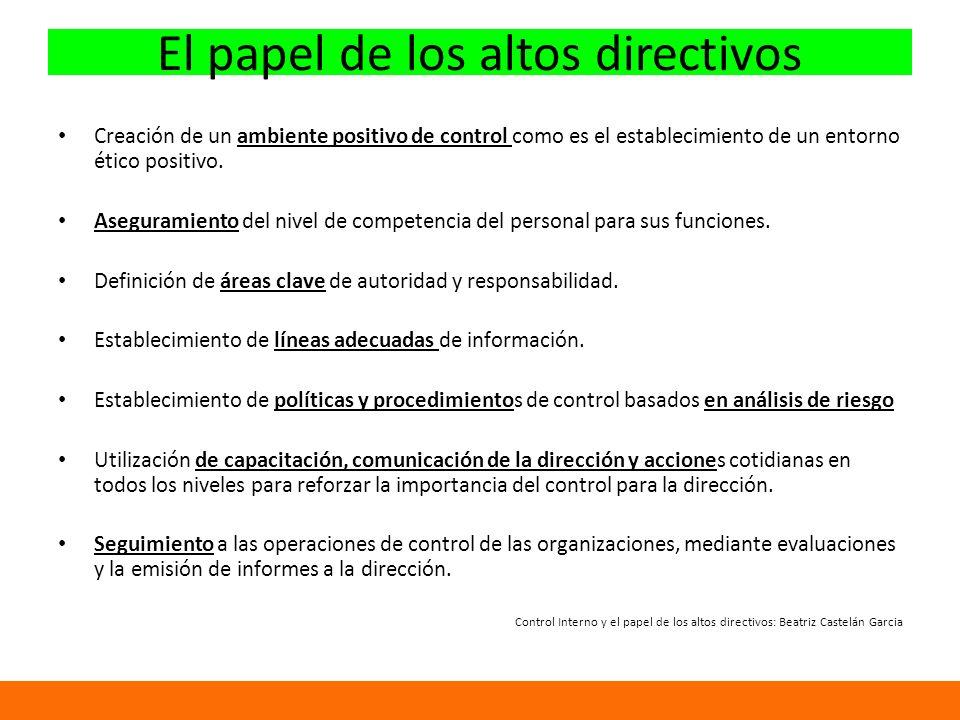 El papel de los altos directivos Creación de un ambiente positivo de control como es el establecimiento de un entorno ético positivo.