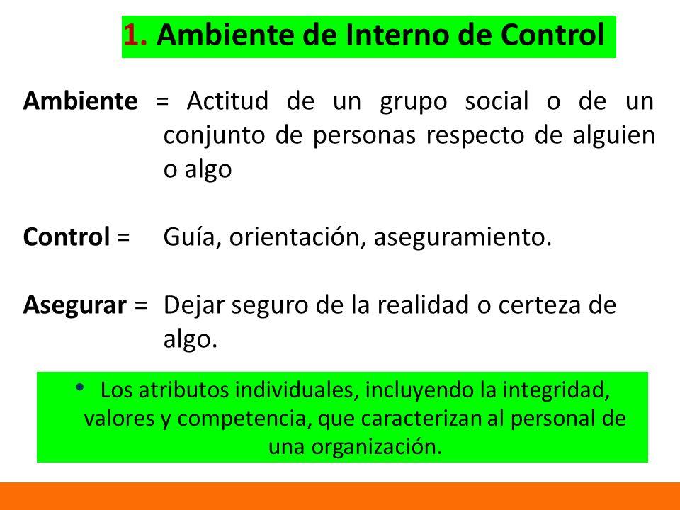 Ambiente = Actitud de un grupo social o de un conjunto de personas respecto de alguien o algo Control = Guía, orientación, aseguramiento.
