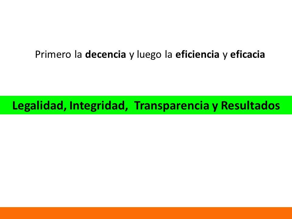 Primero la decencia y luego la eficiencia y eficacia Legalidad, Integridad, Transparencia y Resultados