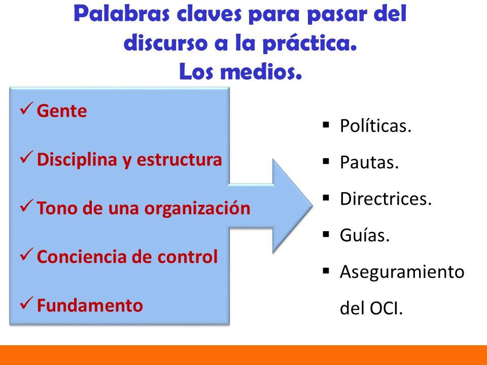 Políticas.Pautas. Directrices. Guías. Aseguramiento del OCI.