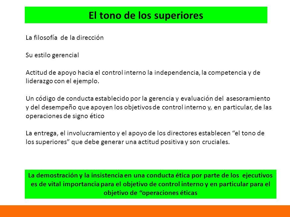 El tono de los superiores La filosofía de la dirección Su estilo gerencial Actitud de apoyo hacia el control interno la independencia, la competencia y de liderazgo con el ejemplo.