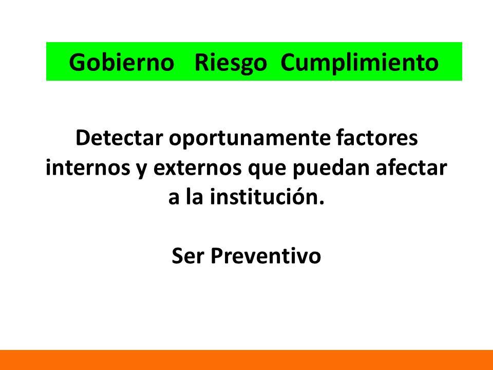 Detectar oportunamente factores internos y externos que puedan afectar a la institución.