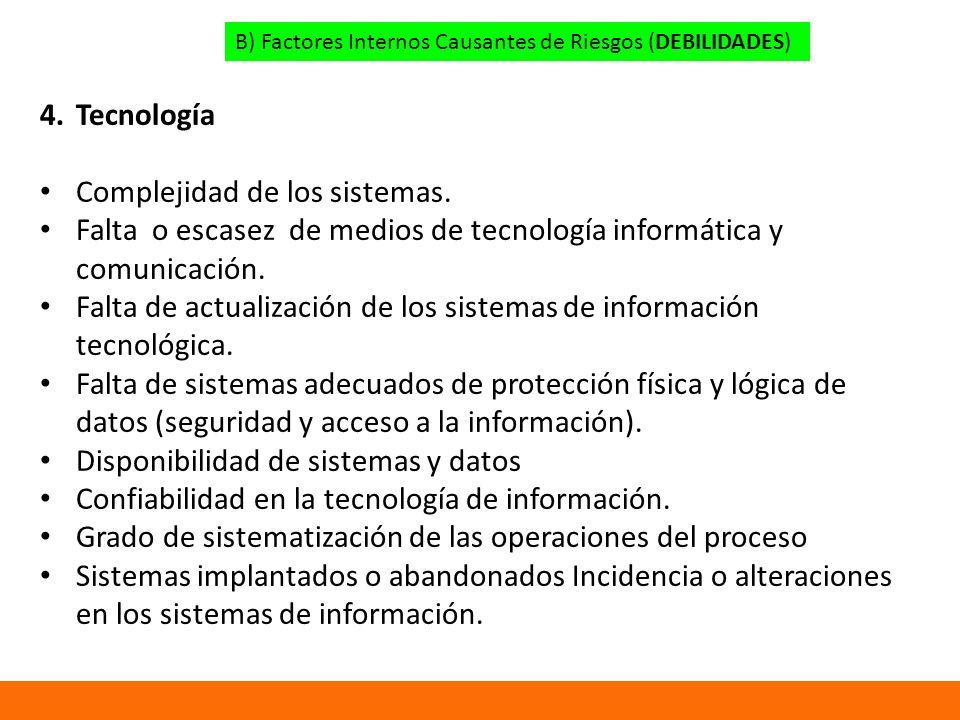 B) Factores Internos Causantes de Riesgos (DEBILIDADES) 4.Tecnología Complejidad de los sistemas.