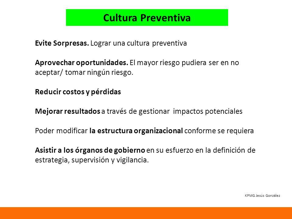 Cultura Preventiva Evite Sorpresas.Lograr una cultura preventiva Aprovechar oportunidades.