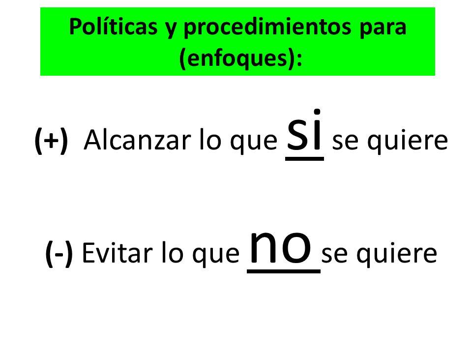 (+) Alcanzar lo que si se quiere (-) Evitar lo que no se quiere Políticas y procedimientos para (enfoques):