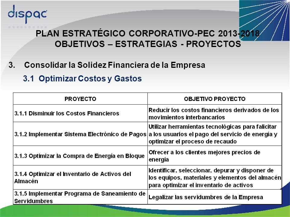 PLAN ESTRATÉGICO CORPORATIVO-PEC 2013-2018 OBJETIVOS – ESTRATEGIAS - PROYECTOS 3.