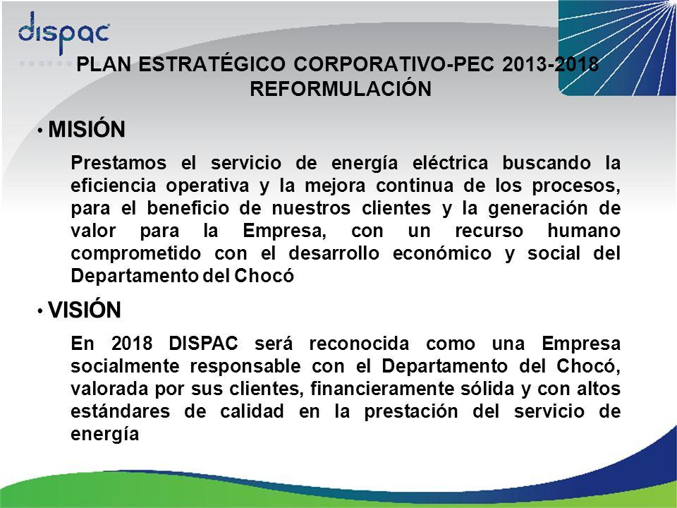 PLAN ESTRATÉGICO CORPORATIVO-PEC 2013-2018 REFORMULACIÓN MISIÓN Prestamos el servicio de energía eléctrica buscando la eficiencia operativa y la mejora continua de los procesos, para el beneficio de nuestros clientes y la generación de valor para la Empresa, con un recurso humano comprometido con el desarrollo económico y social del Departamento del Chocó VISIÓN En 2018 DISPAC será reconocida como una Empresa socialmente responsable con el Departamento del Chocó, valorada por sus clientes, financieramente sólida y con altos estándares de calidad en la prestación del servicio de energía