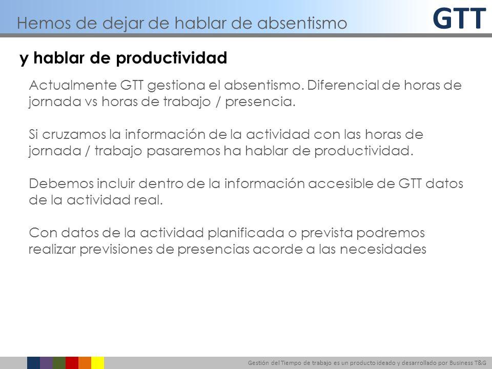 GTT Gestión del Tiempo de trabajo es un producto ideado y desarrollado por Business T&G y hablar de productividad Actualmente GTT gestiona el absentis