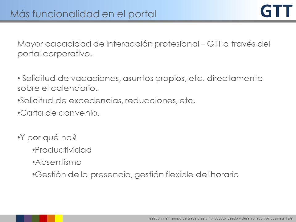 GTT Gestión del Tiempo de trabajo es un producto ideado y desarrollado por Business T&G Mayor capacidad de interacción profesional – GTT a través del