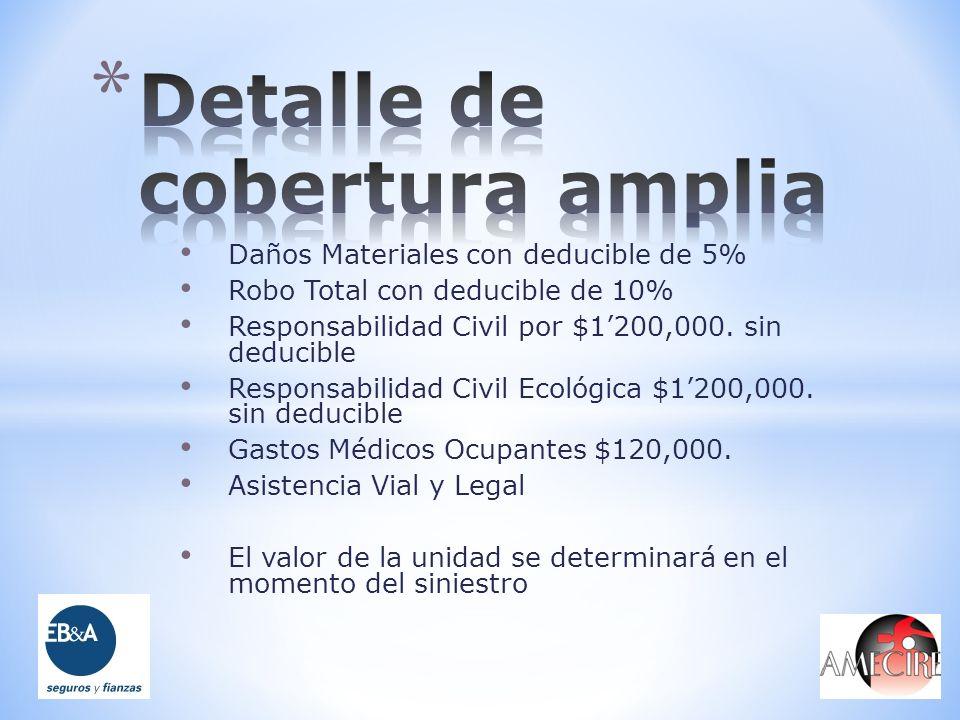 Daños Materiales con deducible de 5% Robo Total con deducible de 10% Responsabilidad Civil por $1200,000. sin deducible Responsabilidad Civil Ecológic