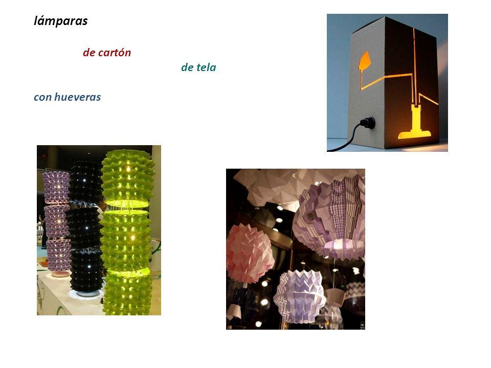 lámparas de cartón de tela con hueveras