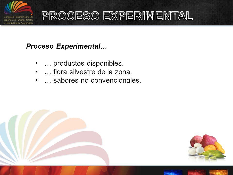 Proceso Experimental… … productos disponibles. … flora silvestre de la zona. … sabores no convencionales.