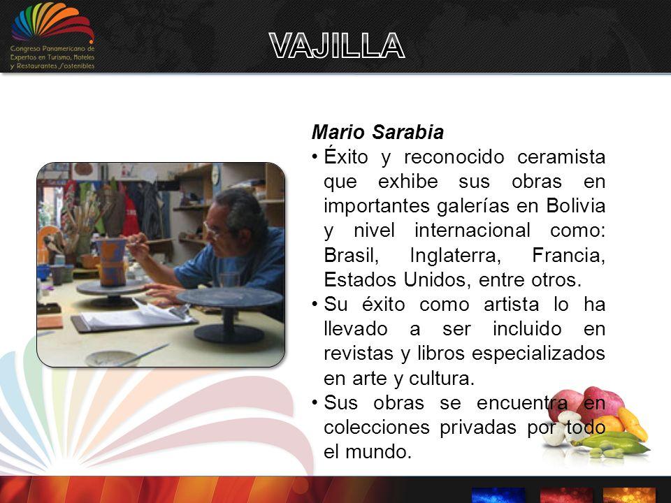 Mario Sarabia Éxito y reconocido ceramista que exhibe sus obras en importantes galerías en Bolivia y nivel internacional como: Brasil, Inglaterra, Fra