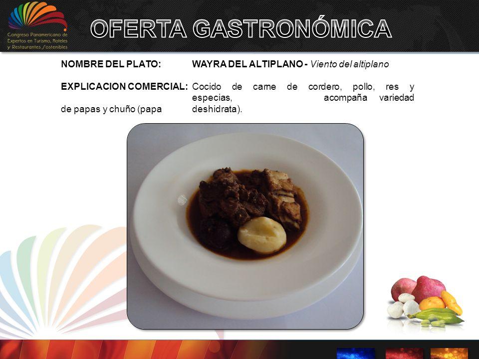 NOMBRE DEL PLATO:WAYRA DEL ALTIPLANO - Viento del altiplano EXPLICACION COMERCIAL: Cocido de carne de cordero, pollo, res y especias, acompaña varieda