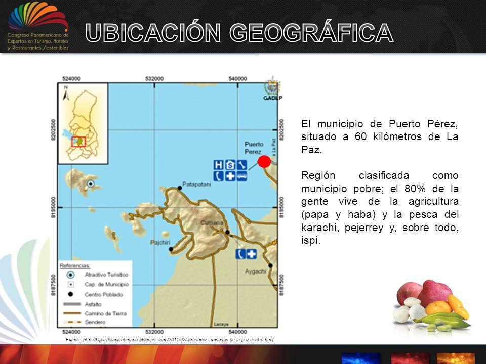 El municipio de Puerto Pérez, situado a 60 kilómetros de La Paz. Región clasificada como municipio pobre; el 80% de la gente vive de la agricultura (p