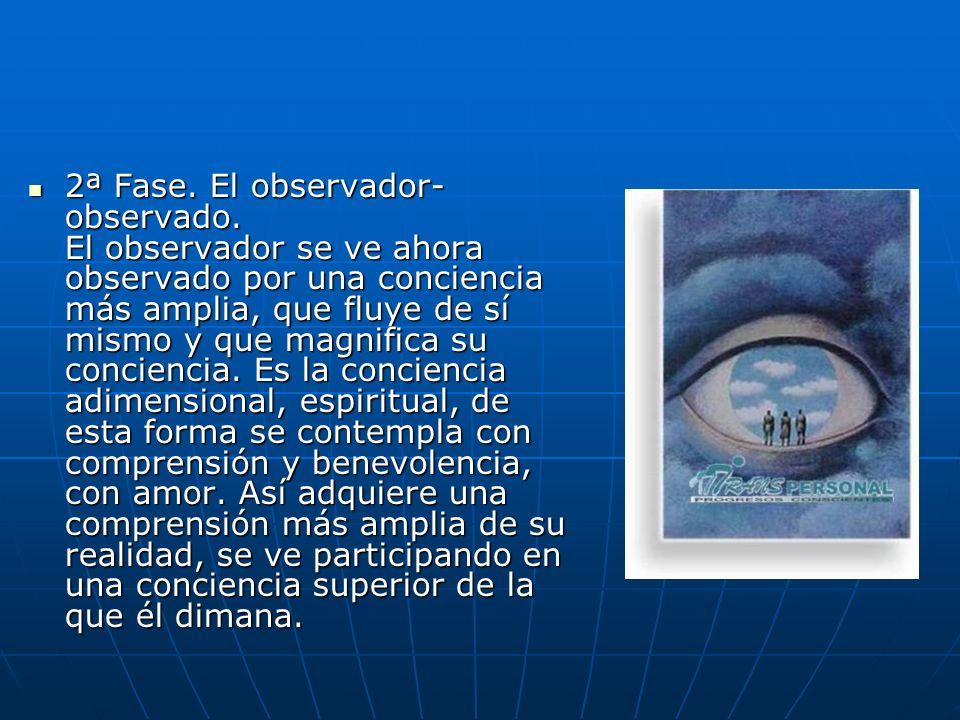 2ª Fase. El observador- observado. El observador se ve ahora observado por una conciencia más amplia, que fluye de sí mismo y que magnifica su concien